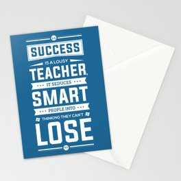 Lab no. 4 Success is a lousy teacher motivational quote poster Stationery Cards