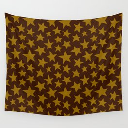 Chocolate Doodle Stars Wall Tapestry