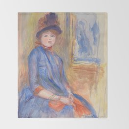 "Renoir ""Young Girl in a Blue Dress"" Throw Blanket"
