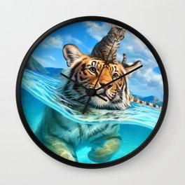 A small swim for a tiger Wall Clock
