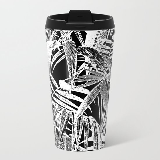 Black and White Vintage Tropical Palm Leaf Pattern Metal Travel Mug
