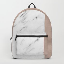 Cloudy marble on golden rose Backpack