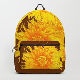 ABSTRACTED COFFEE BROWN   FIRST SPRING YELLOW DANDELIONS Backpack