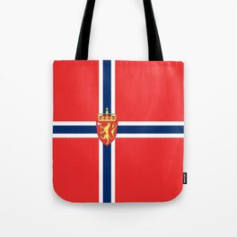 Flag of Norway Scandinavian Cross and Coat of Arms Tote Bag