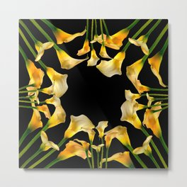 Golden Calla Lilies Black Garden Art Metal Print