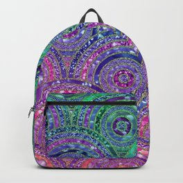 Pink Purple Blue and Green Sparkling Glitter Circles and Dots Backpack