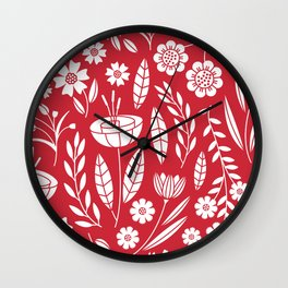 Blooming field - red Wall Clock