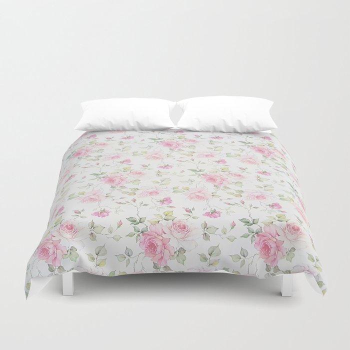 Elegant blush pink white vintage rose floral Bettbezug