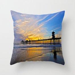 Superbowl Sunset ~ Huntington Beach Pier ~ Huntington Beach Pier CA   Throw Pillow