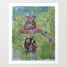 Happy goats Art Print
