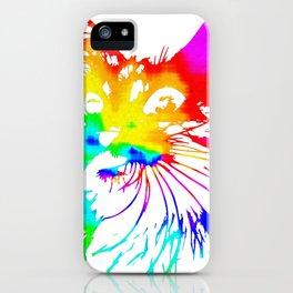 tie dye cat splash art iPhone Case
