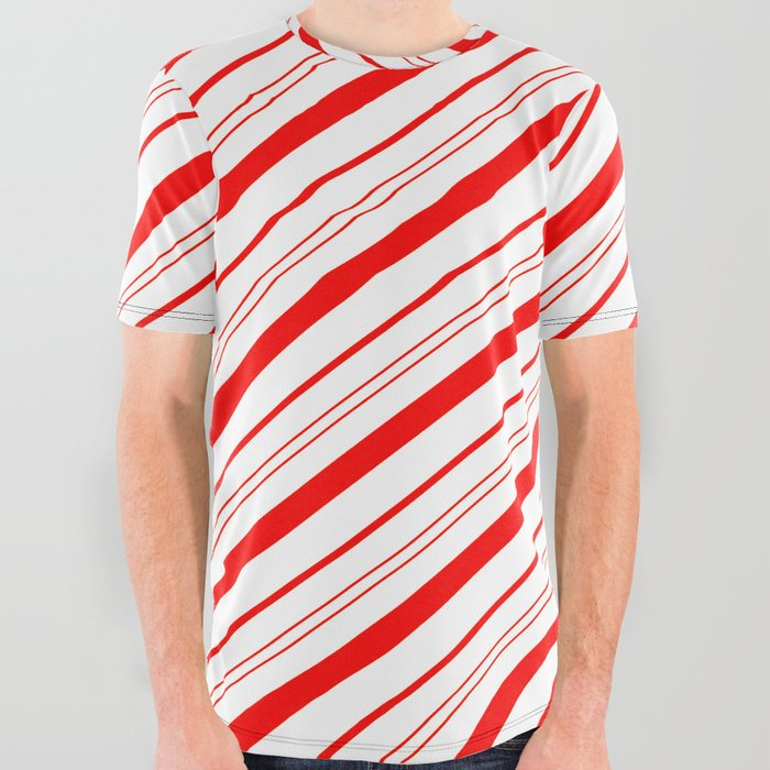 Candy Cane Stripes All Over Graphic Tee