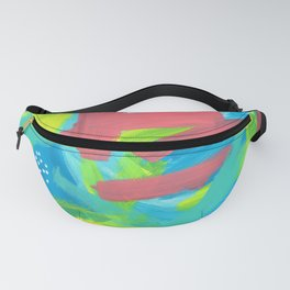 Abstract Modern - BE BRAVE, BE OK - Beach Ocean Blue Summer Tropical Fanny Pack