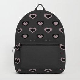 Lilac/Black Heart-on-Heart Pattern Backpack