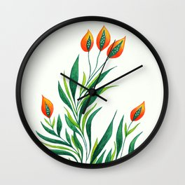 Abstract Green Plant With Orange Buds Wall Clock