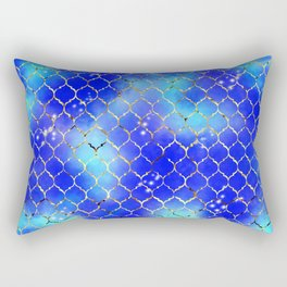 aqua quatrefoil Rectangular Pillow