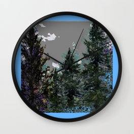 BABY BLUE WESTERN PINE TREES  LANDSCAPE Wall Clock