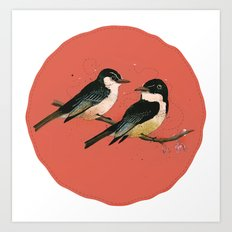Pair of Phoebes Art Print