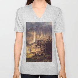 Cho Looke The Yosemite Fall 1864 By Albert Bierstadt | Reproduction Painting Unisex V-Neck