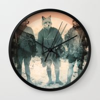 war Wall Clocks featuring Fox Hunt by Chase Kunz