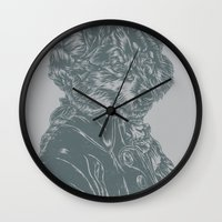 mozart Wall Clocks featuring Wolf Amadeus Mozart by Joshua Kemble