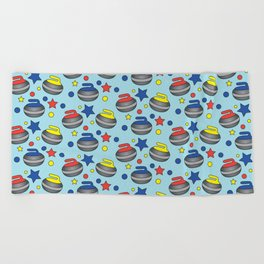 Curling Stone Print Beach Towel