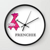 frenchie Wall Clocks featuring FRENCHIE by Tim Breitzmann