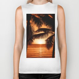 Perfect Palm Sunset (Color) Biker Tank