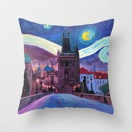Starry Night in Prague - Van Gogh Inspirations on Charles Bridge Throw Pillow