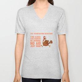 Thanksgiving Marathon No Fee No Clock Just Run T-Shirt Unisex V-Neck