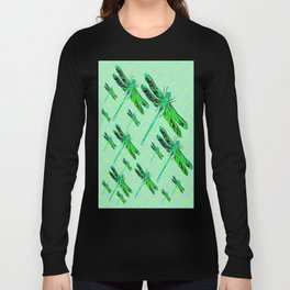 Flight of Emerald Green Swamp Dragonflies Minty Green Art Long Sleeve T-shirt