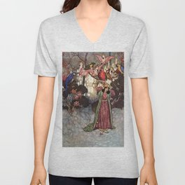 Beauty by Edmund Dulac Unisex V-Neck