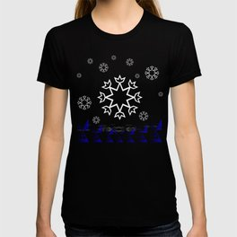 Xmas Blue with snowflake and tipi T-shirt