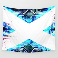 scotland Wall Tapestries featuring circuit board scotland (Flag) by seb mcnulty