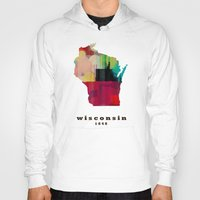 wisconsin Hoodies featuring Wisconsin state map modern by bri.buckley