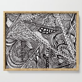 Black white Abstract Paisley doodle geometric pattern Serving Tray