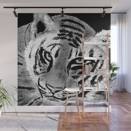 Tiger with White Background Wall Mural