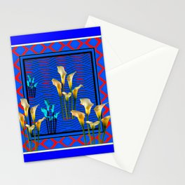 Blue Art White Calla Lilies Red Patterns Stationery Cards
