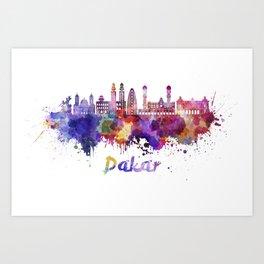 Dakar skyline in watercolor splatters Art Print
