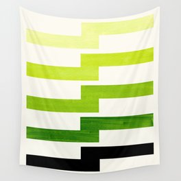 Minimalist Mid Century Modern Sap Green Watercolor Painting Lightning Bolt Zig Zag Pattern With Blac Wall Tapestry