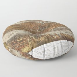 Aerial View of New York and Brooklyn (1875) Floor Pillow