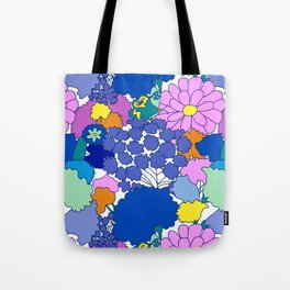 Far-Out 60's Floral in White Tote Bag