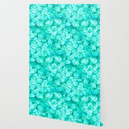 Aqua Blue Turquoise Water Pool Flower Pattern, Delicate Floral Blossom Reflection Design Wallpaper