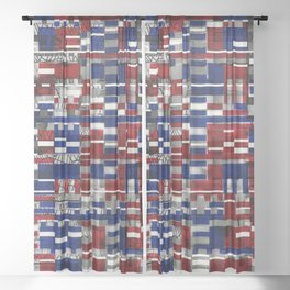 Simultaneous Love and Loathing (P/D3 Glitch Collage Studies) Sheer Curtain