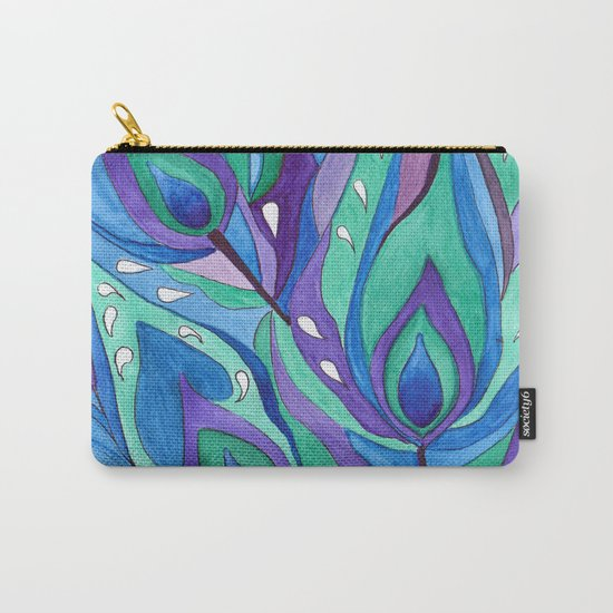 Watercolor . Abstraction . The peacock feather . 1 Carry-All Pouch
