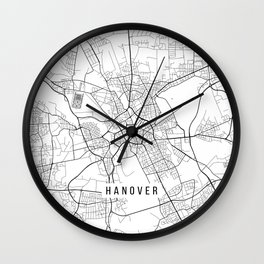 Hanover Map, Germany - Black and White Wall Clock