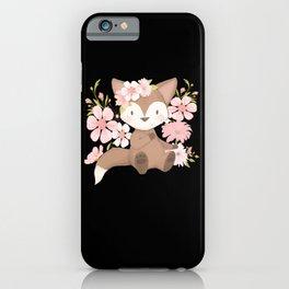 Children Fox Kids Flower Pattern Motif iPhone Case