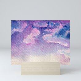 Sky cloud art Blue watercolor Nature Abstract landscape painting Pink sunset sunrise Modern colorful Mini Art Print