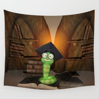 bookworm Wall Tapestries featuring Cute bookworm by nicky2342