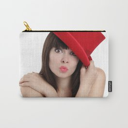 surprised woman with red top hat isolated on white background Carry-All Pouch